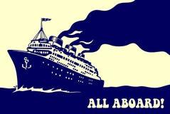 Retro illustrazione del manifesto di viaggio del vapore della nave da crociera d'annata dell'oceano Fotografia Stock Libera da Diritti