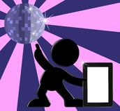 Retro illustrazione del PC del ridurre in pani di Dancing della sfera della discoteca Fotografie Stock