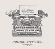 Retro illustrazione dell'annata di vettore della macchina da scrivere Fotografie Stock Libere da Diritti