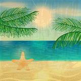 Retro illustrazione della spiaggia Fotografia Stock Libera da Diritti