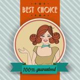 Retro illustrazione di bella donna e del migliore messaggio choice Fotografie Stock