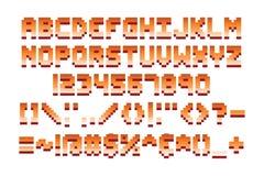 Retro illustrazione di vettore di progettazione di gioco di computer della fonte del pixel Fotografie Stock