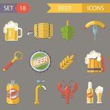 Retro illustrazione di vettore di simboli dell'alcool della birra Fotografia Stock Libera da Diritti