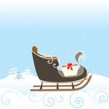 Retro illustrazione di vettore di sorpresa del fiocco di neve della neve del regalo della slitta di Natale Immagini Stock