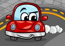 Retro illustrazione divertente del fumetto dell'automobile Fotografia Stock