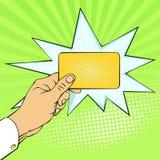Retro illustrazioni d'imitazione Emozioni ed umore Carta elettronica di pagamento dell'oro Commercio e finanze illustrazione di stock