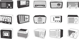 Retro illustrazioni delle radio Immagine Stock Libera da Diritti