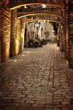 Retro image of old european street Royalty Free Stock Photos