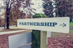 Retro image of Partnership signboard Royalty Free Stock Photos