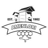 Retro- Imker, Honigvektoraufkleber, Ausweis, Emblem, Logo im Schwarzen lizenzfreie abbildung