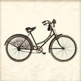 Retro immagine disegnata di una bicicletta d'annata di signora fotografia stock libera da diritti