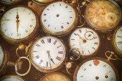 Retro immagine disegnata di vecchi orologi da tasca Fotografia Stock