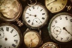 Retro immagine disegnata di vecchi orologi da tasca Fotografia Stock Libera da Diritti