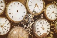 Retro immagine disegnata di vecchi orologi da tasca Immagine Stock Libera da Diritti