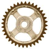 Retro immagine disegnata di vecchia ruota di ingranaggio isolata su bianco Fotografia Stock