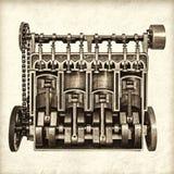 Retro immagine disegnata di vecchio motore di automobile classico Immagine Stock Libera da Diritti