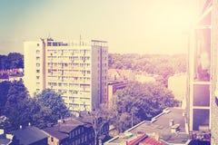Retro immagine tonificata degli appartamenti residenziali del blocco Fotografia Stock Libera da Diritti