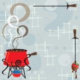 Retro inbjudan för chokladFonduedeltagare royaltyfri illustrationer