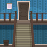 Retro Indoor. The blue room with doors and stairs Stock Photography