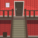 Retro Indoor Red. The red room with doors and stairs Royalty Free Stock Images