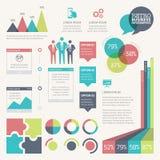 Retro infographic die vector wordt geplaatst met digitaal grunged achtergrond Stock Afbeeldingen