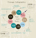 Retro infographic with ink arrows. Royalty Free Stock Photo