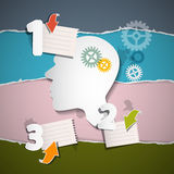 Retro Infographic Layout with Paper Head, Cogs Stock Images