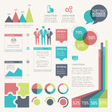 Retro- infographic Vektorsatz mit digital grunged Hintergrund Stockbilder