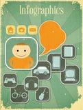 Retro Infographics card vector illustration