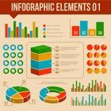 Retro Infographics-Geplaatste Elementen. Informatie en Royalty-vrije Stock Afbeeldingen