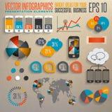 Retro infographicsuppsättning. Stock Illustrationer