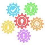 6 retro ingranaggi interrogano, funzionano, idea, informazioni, approvazione & risposta su bianco, illustrazione vettoriale