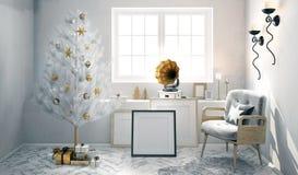 Retro inre med skivspelaren och den glänsande julgranen 3d il Royaltyfri Bild