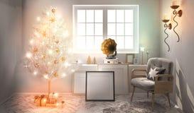 Retro inre med skivspelaren och den glänsande julgranen 3d il Arkivbild