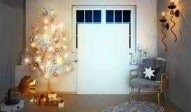 Retro inre med skivspelaren och den glänsande julgranen 3d il Arkivbilder