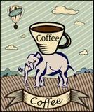 Retro insegna con una tazza di caffè Immagini Stock Libere da Diritti