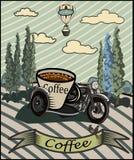 Retro insegna con una tazza di caffè e un motociclo Immagini Stock