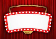 Retro insegna del cinema con la tenda rossa Fotografia Stock Libera da Diritti