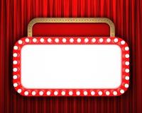 Retro insegna del cinema con la tenda rossa Immagine Stock Libera da Diritti