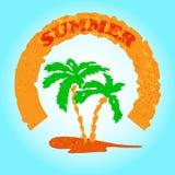 Retro insegna di estate con la palma Fotografie Stock