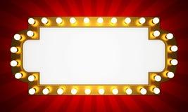 Retro insegna dorata del cinema con i raggi Fotografia Stock