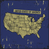 Retro insegne afflitte con la mappa degli Stati Uniti Fotografia Stock