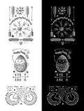 Retro insegne d'annata d'avanguardia - vettore dei distintivi metta con il faro - feste felici Fotografie Stock