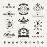 Retro insegne d'annata o vettore fissato Logotypes Fotografia Stock