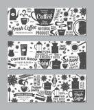 Retro insegne disegnate del caffè di vettore Fotografie Stock Libere da Diritti