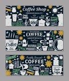Retro insegne disegnate del caffè di vettore Fotografia Stock
