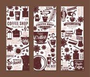 Retro insegne disegnate del caffè di vettore Immagine Stock