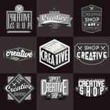 Retro insegne o Logotypes d'annata messi Fotografie Stock Libere da Diritti