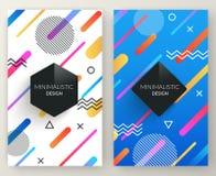 Retro insegne verticali di stile astratto di Memphis con le forme geometriche semplici multicolori e la struttura dello spazio de Fotografia Stock