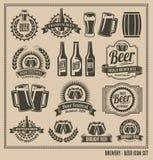 Retro insieme d'annata dell'icona della birra Immagine Stock